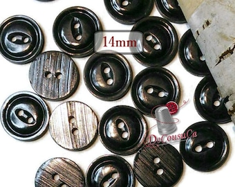 12 Buttons, 14mm, black, 2 holes, BA59, (Reg 4.80)