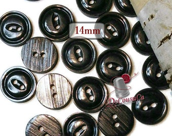 40 Buttons, 14mm, black, 2 holes, BA59, (Valeur de 7.50)