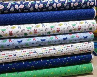Bundle of 7 prints, Half-Pint Heroes, Camelot Fabrics, Bundle, 1 of each print