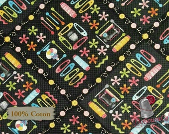 Needles, pins, black, One Stitch at a time, 2027, Henry Glass & Co, multiple quantity cut in 1 piece, 100% Cotton, (Reg 2.99-17.99)