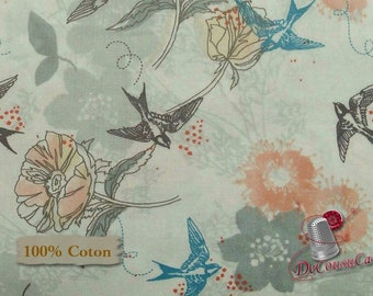 END OF BOLT, Birds, flowers, Nature, Édition Fabric, multiple quantity cut in one piece, 100% Cotton,