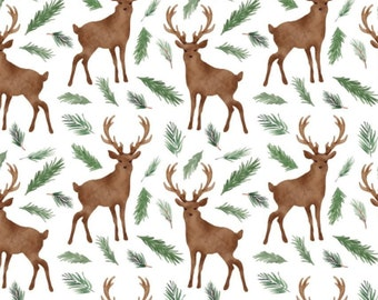Oh Deer, white, 26180204J, col 02, Camelot Fabrics, 100% Cotton