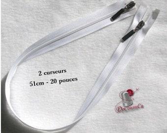 Zipper, 51cm (20in), 2 decorative sliders, detachable, white plastic mesh, silver slider, nylon, Z2C