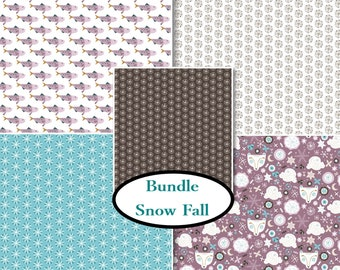 5 prints, Snow Fall, Camelot Fabric, brown, 1 of each print