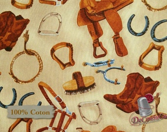 Cowboy, cowgirl, botte, western, selle, Hold Your Horses, 4386, Studio E, multiple quantity cut in 1 piece, 100% Cotton