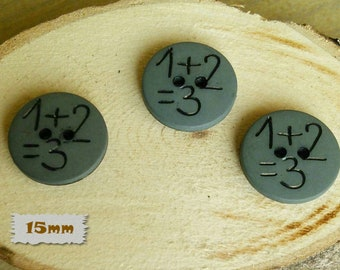3 Buttons, 15mm, 1+2=3, Grey, Vintage, 1980s, Basic Button, Solid Button, GR04