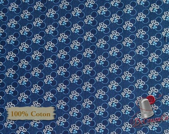 Navy, Indigo Cottage, 2121, Henry Glass & Co, multiple quantity cut in 1 piece, 100% Cotton