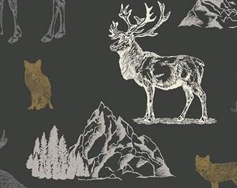 Moose, Caribou, Fox, Charcoal, Timberland, 10330, Riley Blake, cotton quilt, cotton designer, (Reg 3.76-21.91)