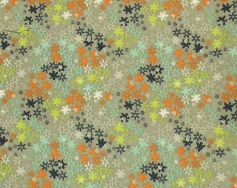 Flower, gray, blue, orange, Édition Fabric, multiple quantity cut in one piece, 100% Cotton