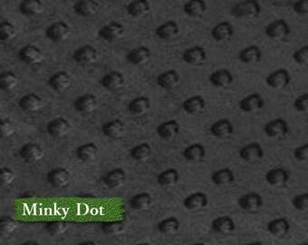 Minky Dot, Black, 100% polyester, 60 inch, 150cm,