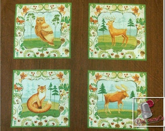 Panel 24 prints, Animal pattern, fox, moose, bear, owl, deer, duck, squares measures 5-6 inches, (13-15cm), Wild Woods, no. 41119
