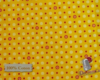 Dot red, dot yellow, yellow sun, Are we there yet? Henry Glass & Co, 6769, 100% Cotton