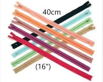40cm, zipper, #3, 16 inchs, varied color, varied size, nylon, perfect for wallets, clothing, repair, creation,