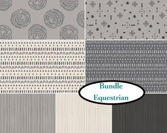 7 prints, 1 of each print, Équestrian, Camelot Fabrics, kit of 7 prints differents
