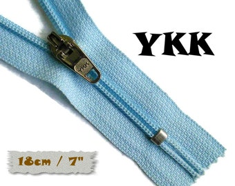 YKK, 18cm, Light blue, Zipper, curseur 45c, 7 inchs, Zipper sport, nylon, perfect for wallets, jeans, leather, Z05