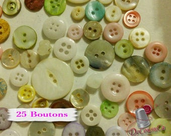 25 random buttons nacre, colors various, different sizes, photo example, BA111