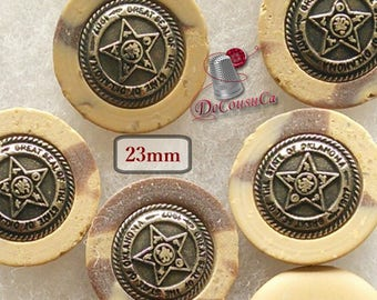 6 buttons, Country, 23mm, metal, rod, star, BM15