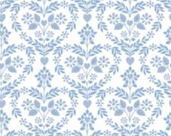 Nordic floral heart, blue, white, 71190103, col 01, The Girls Collection, Camelot Fabrics, cotton, cotton quilt, cotton designer