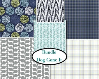 6 FQ, 1/4 yard, 1/2 yard, 1 of each, Dog Gone It, Camelot Fabrics, 100% cotton