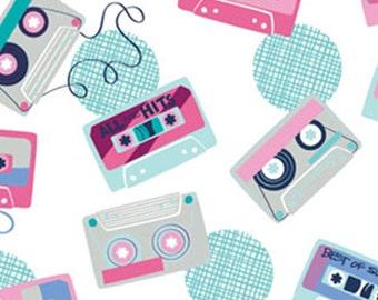 Cassettes, white, 27180403, col 01, Retro Blast, Camelot Fabrics, cotton, cotton quilt, cotton designer