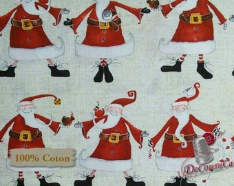 Santa Claus, rouge,fond ivoire, Around Town Christmas, 3716, Studio E, multiple quantity cut in 1 piece, 100% Cotton