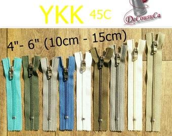 "YKK, curseur 45C, 4"" - 6"", (10cm-15cm), nylon, perfect for wallets, clothing, repair, creation, Z04"