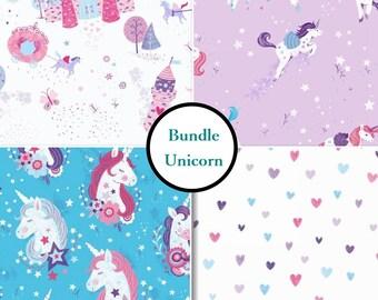 END OF BOLT, 4 prints, Unicorn Kisses, Studio E, bundle, 1 of each print, 100% Cotton