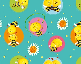 Bees in circle, teal, BUSY BEES, 1411-60, Henry Glass & Co, 100% Cotton