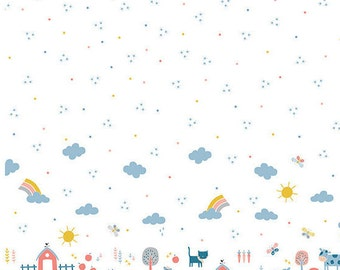 Animaux de la ferme, white, 21170708, Cluck, Moo, Oink, Camelot Fabrics, 100% Cotton, quilt cotton