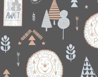 Adventure Awaits, Winnie The Pooh, dark grey, 85430403, Camelot Fabrics, cotton, cotton quilt, cotton designer