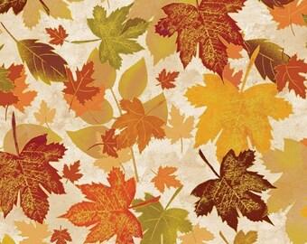 Leaf, with gold métallic, ivory, Harvest Berry, Benartex, 07773, cotton, cotton quilt, cotton designer