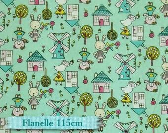 """Fat quarter, 18""""X22"""" = 45cm X 55cm, Flannel, Rabbit, house, teal"""