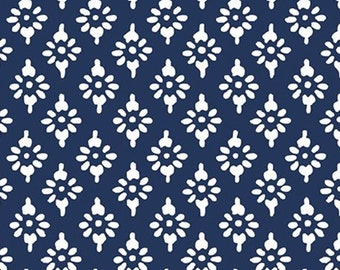 Hannah geo, navy, 71180306, col 03, By The Sea, Laura Ashley, Camelot Fabrics, 100% Cotton, (Reg 2.99-17.99)
