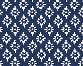 Hannah geo, navy, 71180306, col 03, By The Sea, Laura Ashley, Camelot Fabrics, 100% Cotton