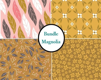 Bundle, 4 prints, 1 of each print, Magnolia, Camelot Fabrics, Bundle