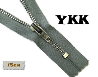 YKK, 15cm, Dark Grey, Zipper, Cursor V, 6 Inch, Metal, Zipper, Non-Detachable, vintage, 1980, Z16 (Reg 2.49)