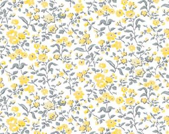 Littles flowers, yellow, white, gray, Dorset, 7140801, col 1, Camelot Fabrics, 100% Cotton, quilt cotton, (Reg 2.99-17.99)
