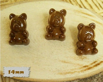 3 + 3 = 6 Buttons, Bear, BROWN, 14mm, Polyester, Casein, Vintage, 1980, Fancy Button, Solid Button, BF52