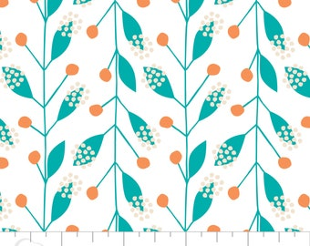 Gypsy Lane, 1240602, Camelot Cotton, leaf, teal, peach, multiple quantity cut in one piece, 100% Cotton