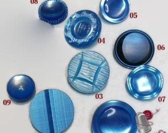 3 buttons, BLUE, 22mm, 18mm or 14mm, vintage, antique, solid, BM49