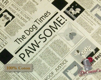 Newspaper, Black, White Background, Puparazzi Pups, 4165, Studio E, 100% Cotton,