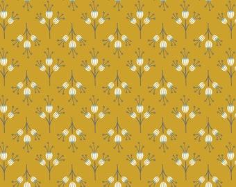 Joséphine, flowers, mustard, 2143803, col. 02, Camelot Fabrics, multiple quantity cut in one piece, 100% Cotton