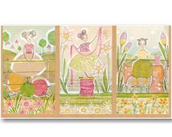 "Panel, 3 prints, 24""X44"", (60cmX115cm), Cori Dantini, Blend, Multiple quantity cut in one piece, 100% Cotton"