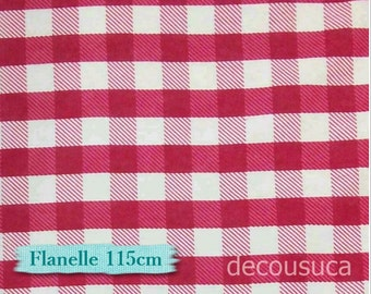 Flannel, Buffalo, plaid, white and fuschia, many yards will be cut as one continuous piece, 100% Cotton