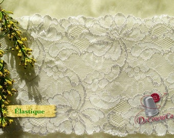 DT31, Lace elastic, white, 17cm, 6 1/2 inch, at the metre (39 inch)