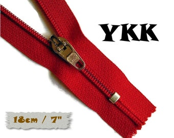 YKK, 18cm, Red, Zipper, curseur 45c, 7 inchs, Zipper sport, nylon, perfect for wallets, jeans, leather, Z05