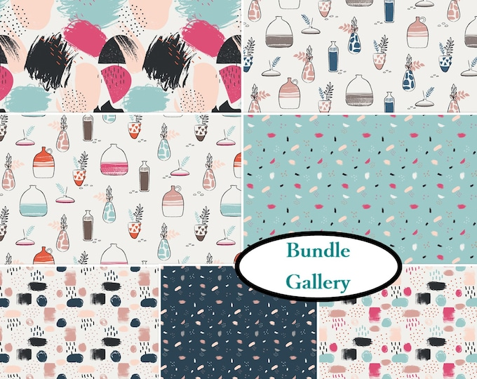 Featured listing image: 7 prints, 1 of each, Gallery, Camelot Fabrics, cotton