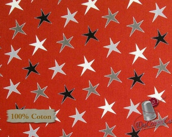 Star, red, gray, Around Town Christmas, 3715, Studio E, multiple quantity cut in 1 piece, 100% Cotton