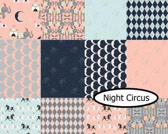 Bundle, 12  designs, Night Circus, Camelot Fabrics, 1 of each, 100% cotton