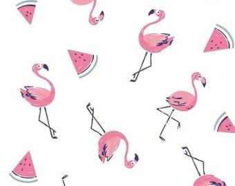 Flamingo, melon, Summer Days, Laura Ashley, 71190305, col 01, Camelot Fabrics, cotton, cotton quilt, cotton designer
